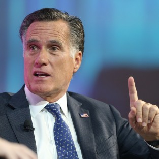 SALT LAKE CITY, UT - JANUARY 19: Former Massachusetts Governor and Republican presidential candidate Mitt Romney is interviewed at the Silicon Slopes Tech Conference on January 19, 2018 in Salt Lake City, Utah. There is a push for Romney to run for the Utah Senate seat being vacated by retiring Senator Orrin Hatch this year. (Photo by George Frey/Getty Images)